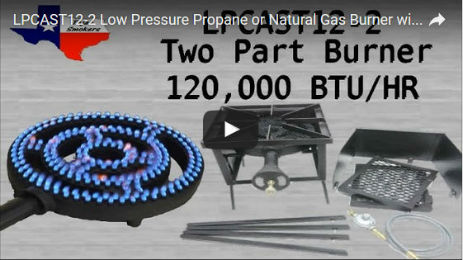 LPCAST12-2 Low Pressure Propane or Natural Gas Burner with Pilot Assembly