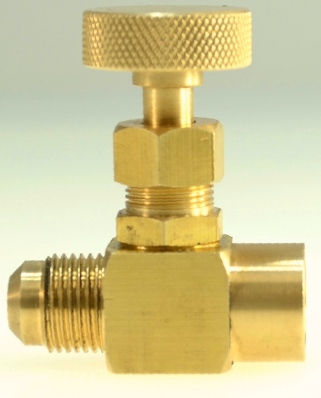 "950-BRF-MB  -  Precision machined brass gas needle valve for fine adjust gas flow, 1/4"" female NPT x 3/8"" male SAE Gas Flare"