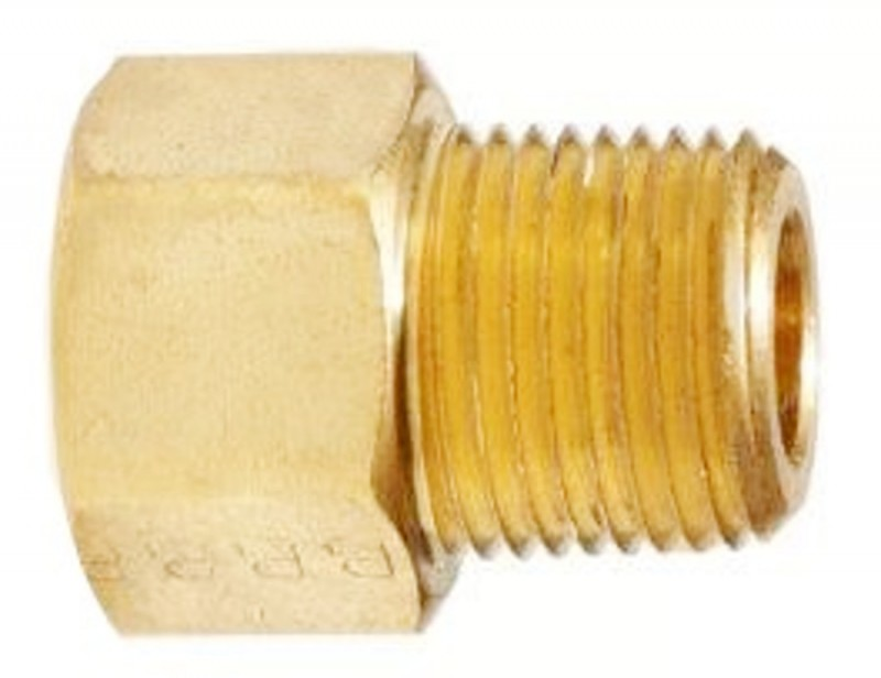 "3/8"" Female SAE Gas Flare x 1/4"" Male NPT 180° Brass Adapter"