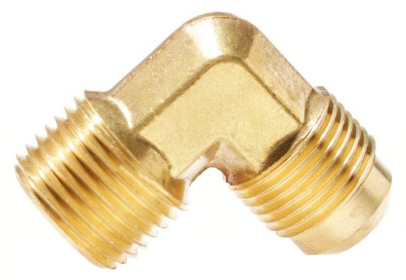 3/8 Male SAE Gas Flare x 1/4 90° Male NPT Brass Adapter (Ell)