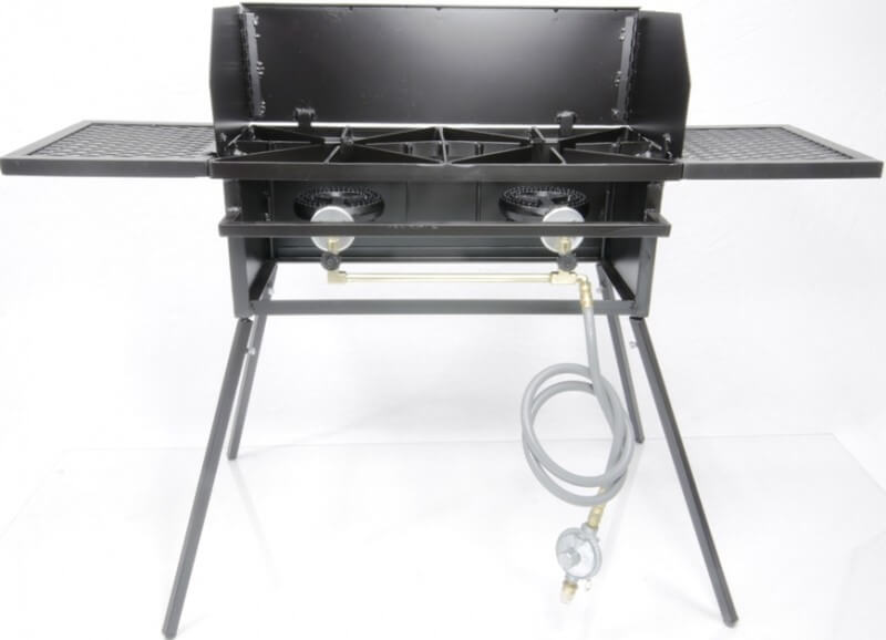 Dual Burner Cooker Stand Combo For Outdoor Cooking, Camping, and Picnics