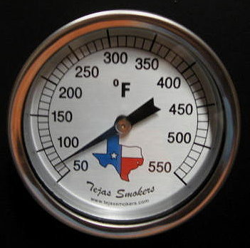Tejas Smokers stainless steel temperature gauge