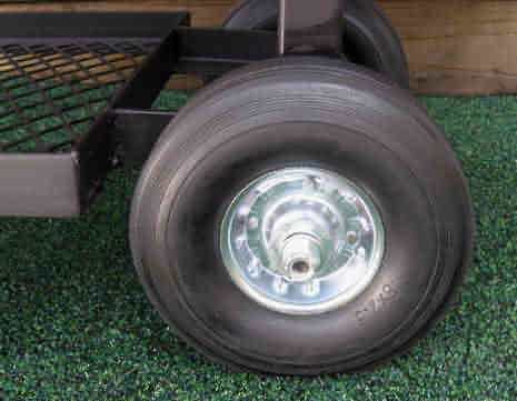 8 inch diameter solid rubber wheels on model 1628CC smoker pit