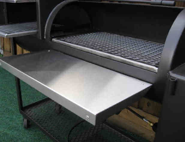 stainless steel brushed stainless steel shelf on 1628CC smoker pit