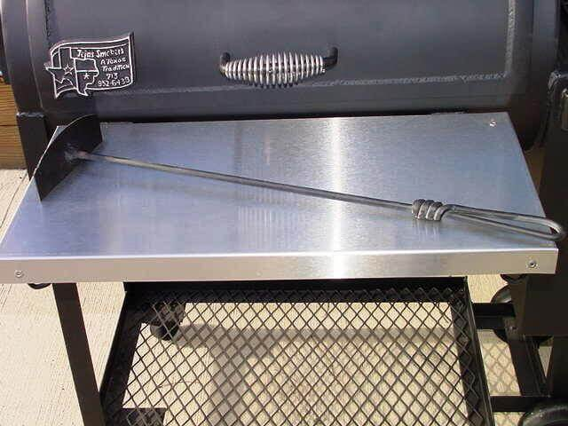 optional stainless steel shelf installed at front of model 1628 smoker pit