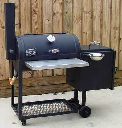 1628 smoker pit with stainless steel front shelf option