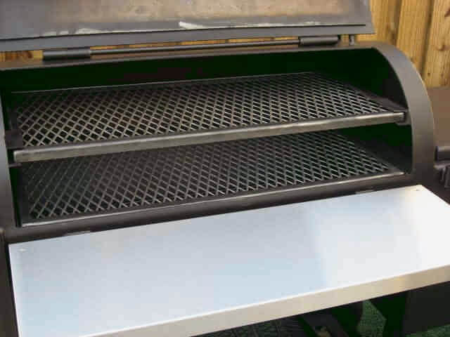 two slide out cook grates in model 1628 smoker pit