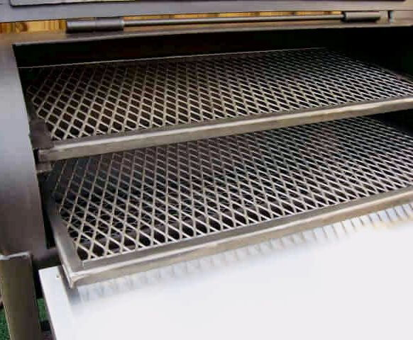 slide out cooking grates of model 2040CC smoker pit barrel