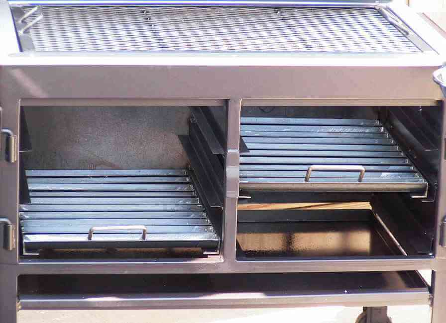 2436XL Fajita Grill 2 Charcoal Racks can be placed at 3 Levels