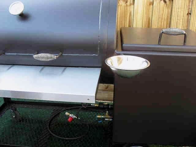 optional swivel sauce bowl for basting meats installed on model 2442 smoker pit