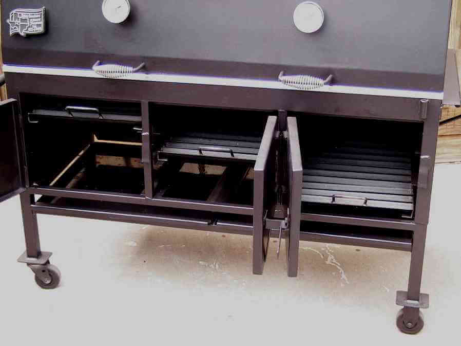 2454XL charcoal grill shown with three charcoal racks at different levels