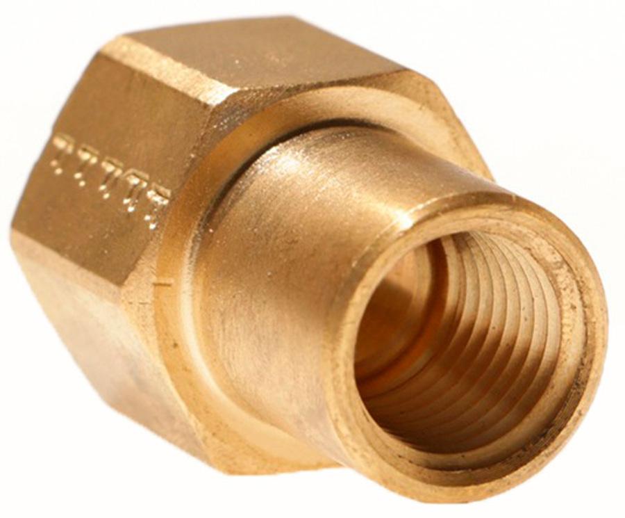 3/8in Female SAE Gas Flare x 1/4in Female NPT 180° Brass Adapter