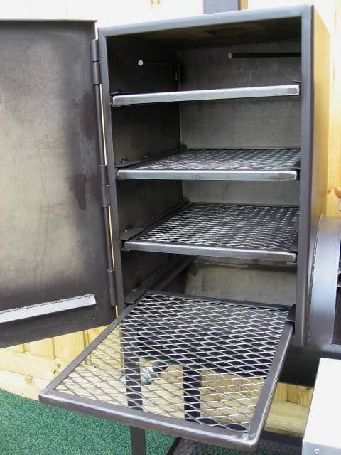slide out shelves of model 2040CC smoker pit vertical chamber