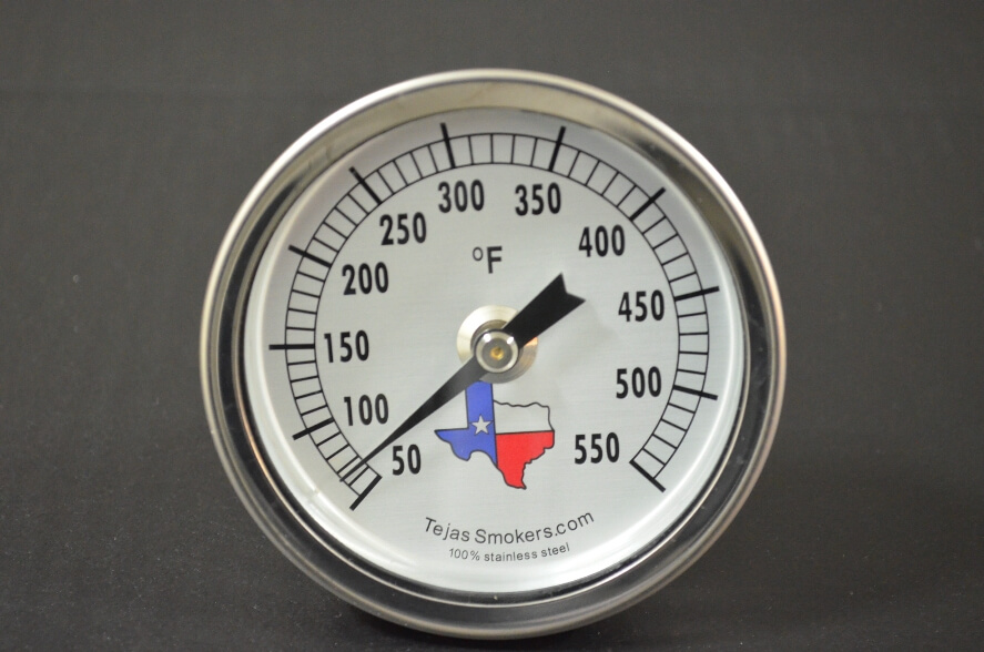 optional Tejas Smokers stainless steel temperature gauge