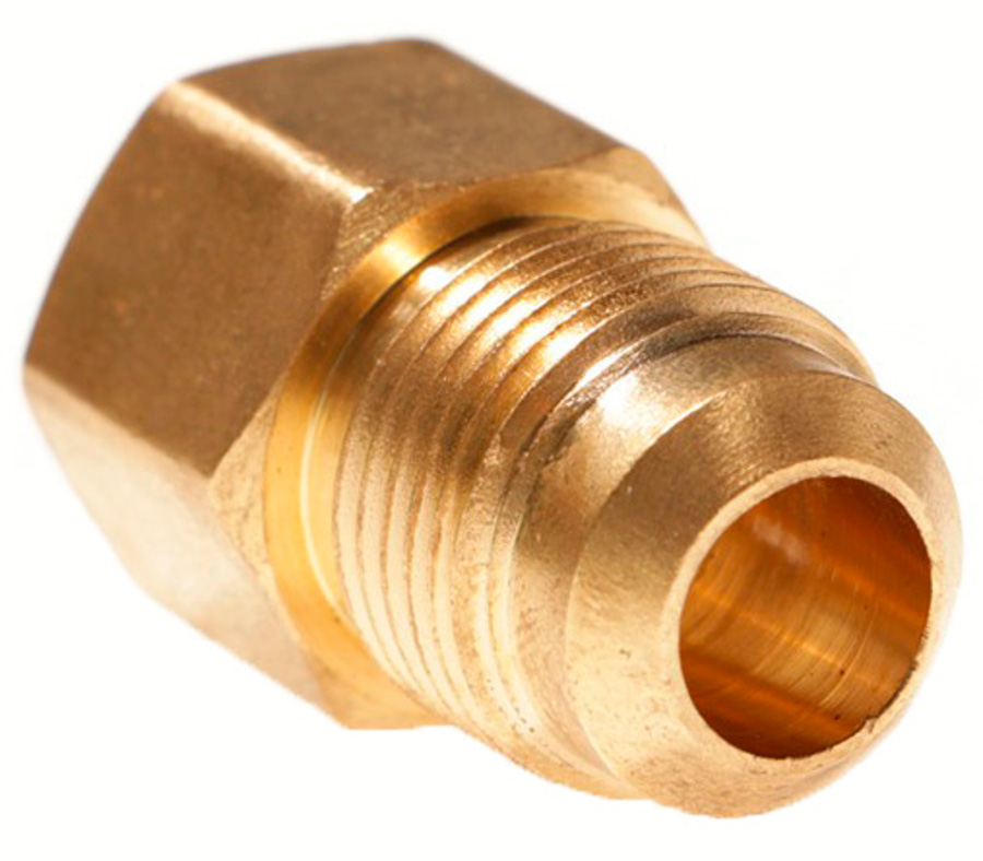 3/8in Female SAE Gas Flare x  1/2in Male SAE Gas Flare Brass Adapter