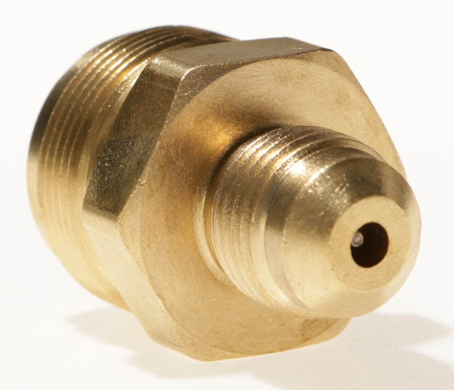 2091- Male #600 Disposable Cylinder Adapter  3/8in Male Gas Flare x Male 1in x 20 TPI.