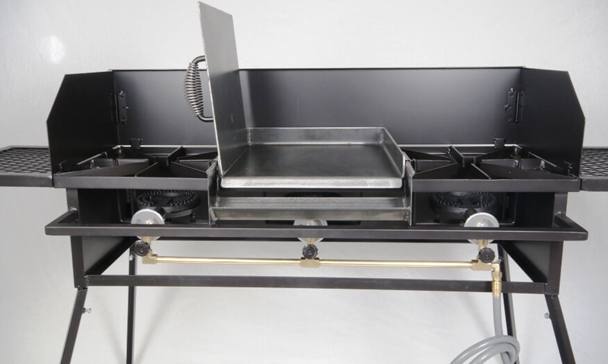 Triple Burner Cooker Stand with Wind Guard, (2) Wings and Regulator