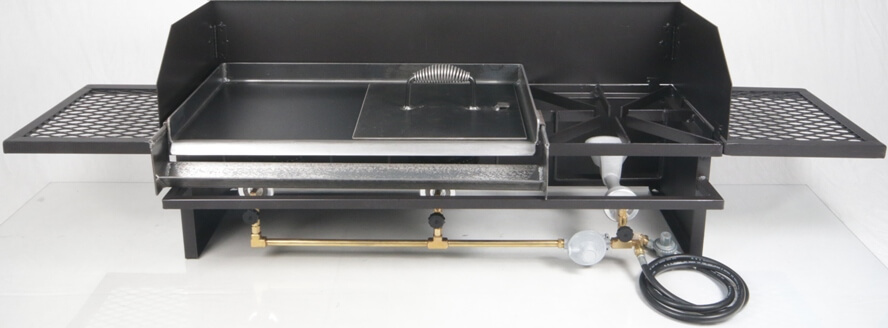 Triple Burner Hot Plate with WInd Guard, Regulator, Side Tables and Medium Size Griddle with Bacon Press
