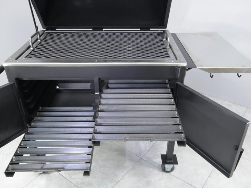 2436XL Fajita Grill Charcoal Racks Slide Out Easily