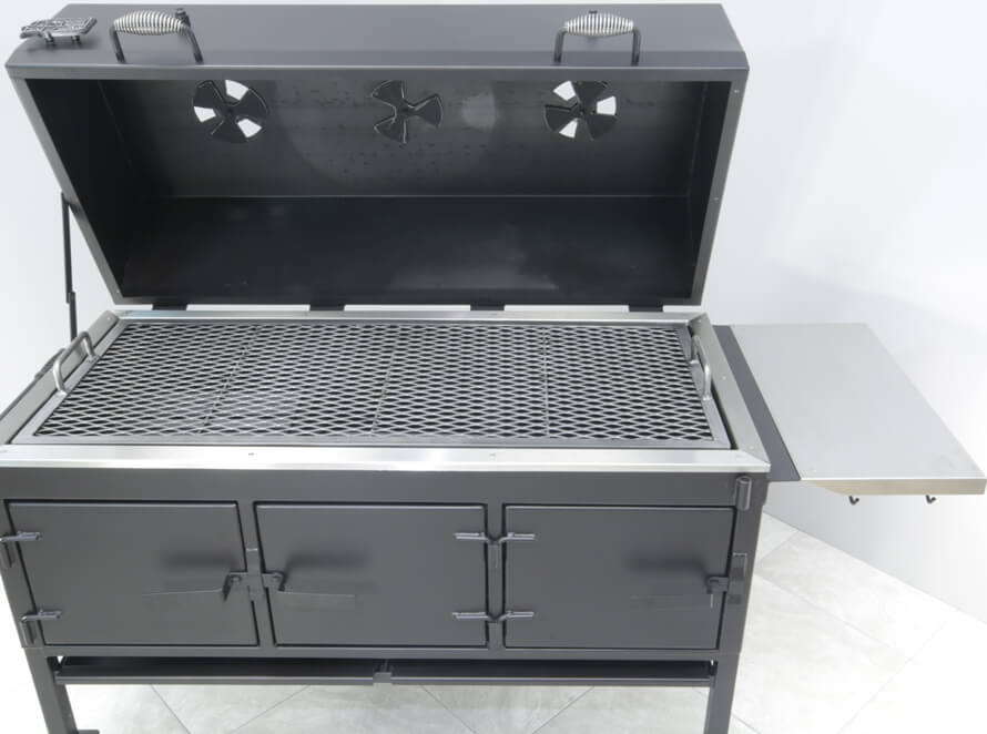 model 2454XL charcoal grill with side shelf in upright position