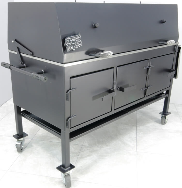 model 2454XL charcoal Grill showing end handle