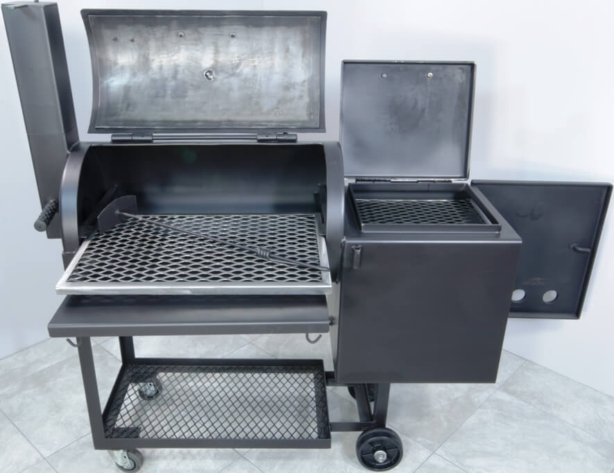 framed slide-out main cooking grate in model 1628 smoker pit