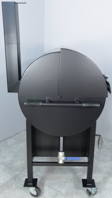 side view of model 2430 smoker pit showing grease drain