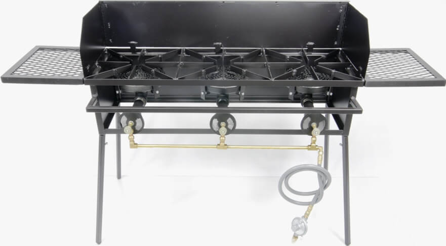 80,000 Btu/hr Triple Burner Cookers Stand with Wing Guard, (2) Wings and Regulator