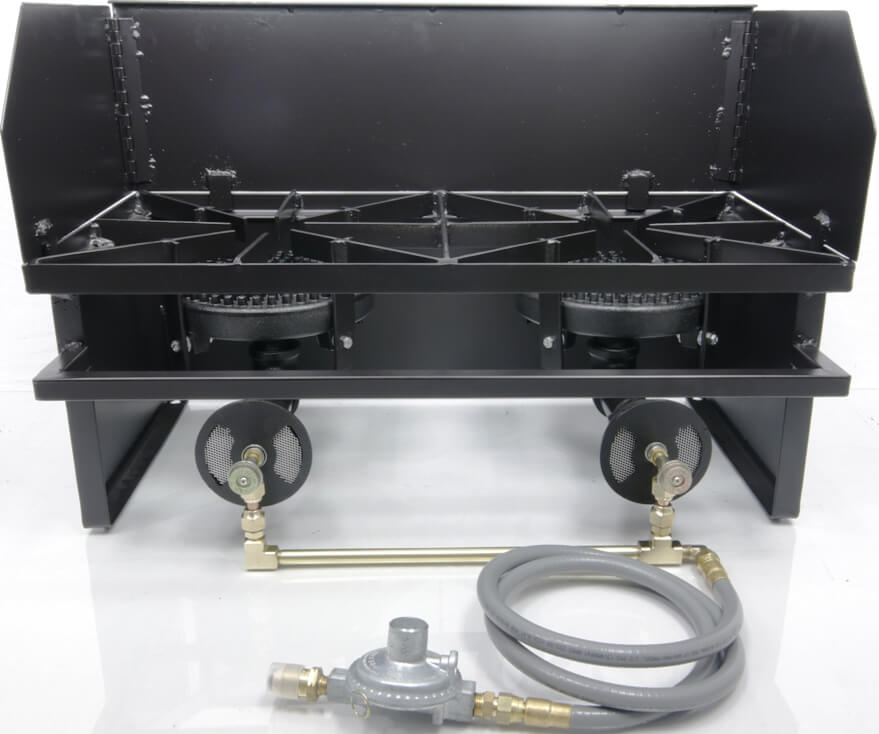 Dual 80,000 btu/hr Low Pressure Burners,  Wind Guard, and Low Pressure Propane Regulator