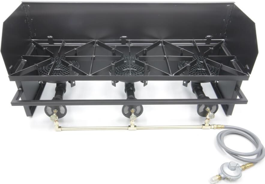 Triple 80,000 btu/hr Low Pressure Burners,  Wind Guard, and Low Pressure Propane Regulator
