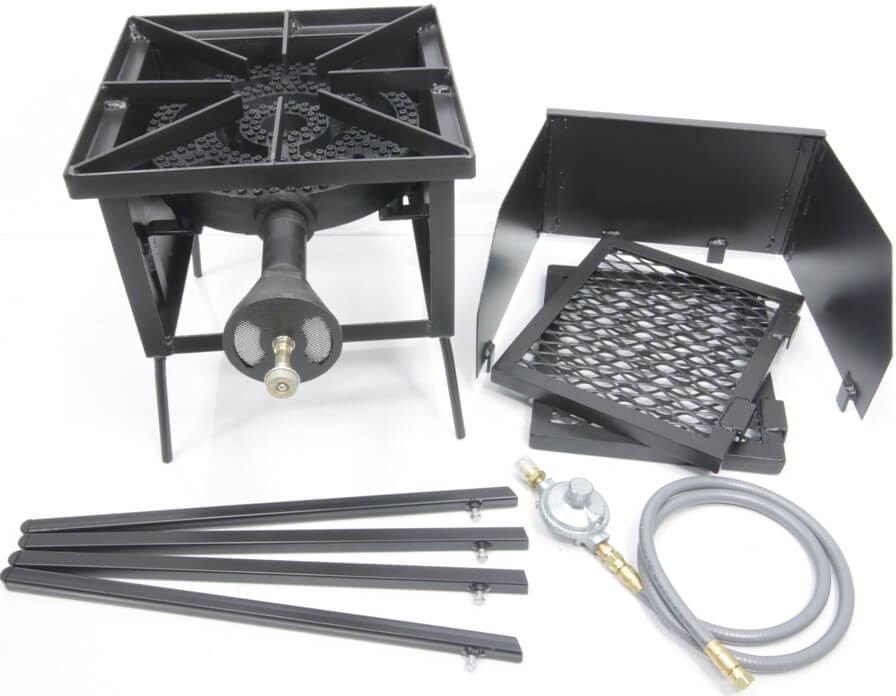120,000 Btu/hr Single Burner Cooker Stand with Wind Guard, (2) wings and Regulator