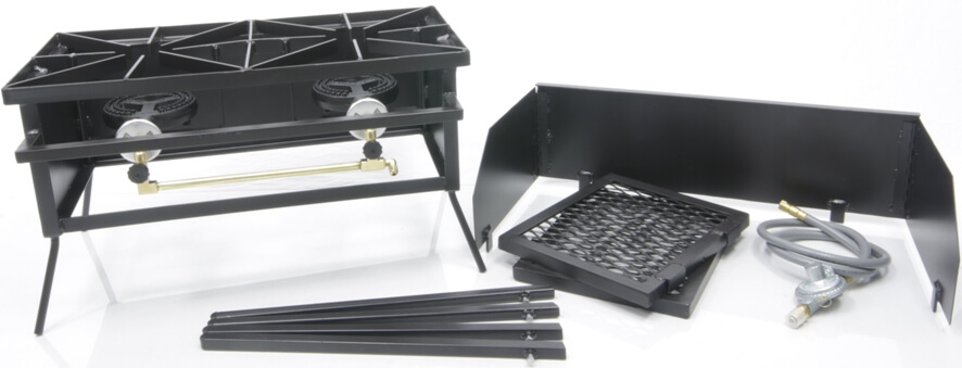 Dual Burner Cooker Stand with Wind Guard, (2) Wings and Regulator
