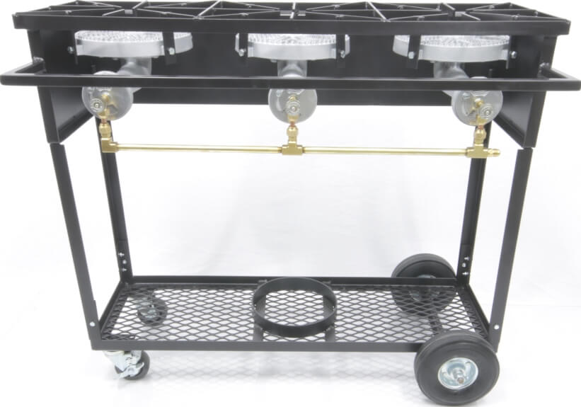 Propane Camp Stove Carts With 2 Or 3 Cast Iron Burners