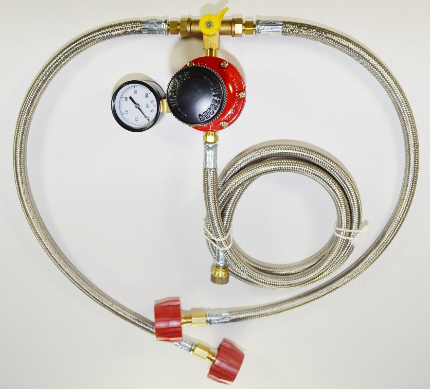 MANC with Stainless Steel Overbraid Hoses on a High Pressure Regulator