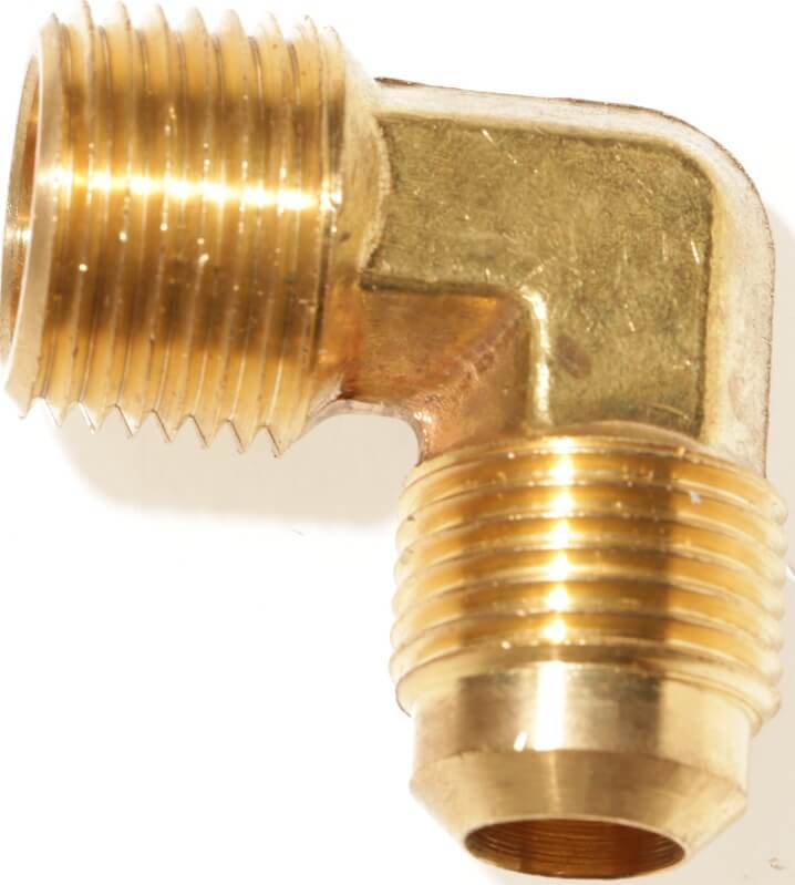Male SAE Gas Flare x 90° Male NPT Brass Adapter (Ell)
